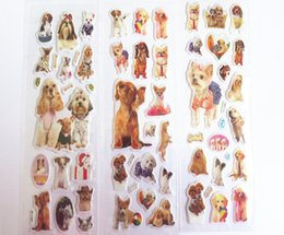 Wholesale Iphone Puppy - Kids stickers pet dog cute PUPPY real dog photos stickers wholesale puffy pvc 3D diary cell phone iphone stickers