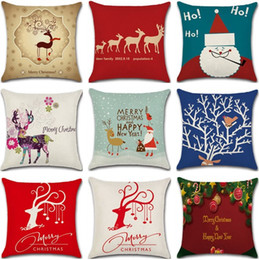 Wholesale Xmas Throw Pillows - High Quality 20 style Linen Merry Christmas pillow Cover Xmas Square Throw Pillow Case For Home Mr Reindeer Decorative Cushion Cover wn295