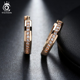 Wholesale Trendy Items - ORSA JEWELS New Trendy Champagne Gold-Color&Silver Color Cubic Zirconia Simple Item Female Earrings Hoop Jewelry for Women OME34