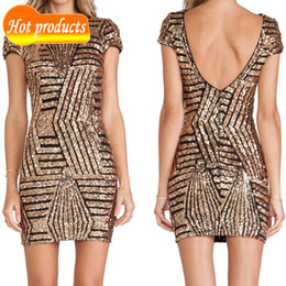 Wholesale Golden Tight Dresses - Vestidos Golden Sequined Cap Sleeve Bodycon Plus Size Women Clothing Summer Tight O-neck Backless Party Chiffon Dress Lace Womens Dresses