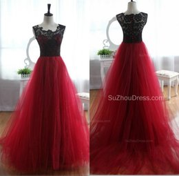 Wholesale Gown Upper - Black Red Ball Gown Prom Dresses Scoop Neck Sleeveless Button Back Lace Upper Tulle Skirts Formal Evening Party Gowns