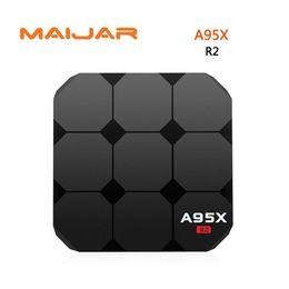 Wholesale Satellite Tv Android - 10pcs A95X R2 Android 7.1 Smart TV Box RK3328 Quad-core 2G RAM 16G ROM Set Top Box Satellite 4K 3D H.265 USB 3.0 TF Card Media Player
