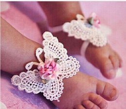 Wholesale Wholesale Baby Barefoot Headband Sets - 3 PCS 1 Set Infant Baby Butterfly Headband Headdress Barefoot Toddler Foot Flower HOT Sale 10pair