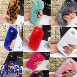 Wholesale Real Phones S4 - Real rex Rabbit soft Fur Phone diamond cover Case For Iphone X 8 7 6 6S Plus 5C Samsung Galaxy Note 5 4 S7 S6 Edge S5 S4 s8