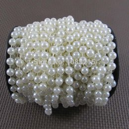 Wholesale 8mm Pearls Faux - Wholesale-Free shipping 8mm white faux pearl beaded string pearl garland spool 17Meter Roll
