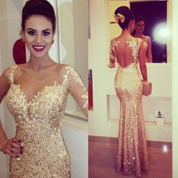 Wholesale Dress Embellishments - 2017 Fabulous golden shining Formal Prom dresses lace sequins embellishment floor length nude tulle back sexy evening gowns formal BO7336