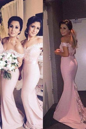 Wholesale Apple Beach - 2018 Floor Length Pink Mermaid Lace Bridesmaid Dresses Sleeves Off The Shoulder Cheap Beach Bridesmaids Dress Prom Party Gowns