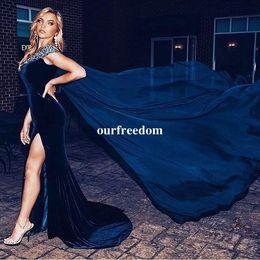 Wholesale velvet vintage jacket - 2017 Blue Velvet Mermaid Prom Dresses Beaded V Neck Side Split With Capes Formal Occasion Evening Dresses Party Gown Custom Made