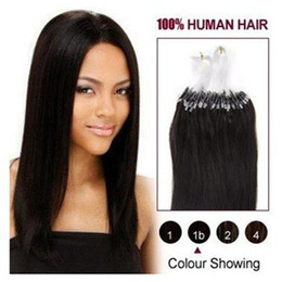 "Wholesale Micro Ring Hair Extensions 1b - Wholesale - 0.8g s 200S lot 14""- 24"" Micro rings loop Brazilian remy Human Hair Extensions hair extention, #1b natural black"