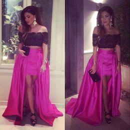Wholesale Short Gold Prom Dresse - New Hot Sale Hi-Low Evening Dresses Off The Shoulder Dubai Arabic Design Short Sleeves Celebrity Evening Gowns Vestidos De Festa Prom Dresse