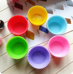 Wholesale Silica Gel Mould - 7cm Silica gel Liners baking mold silicone muffin cup baking cups cake cups cupcake Fast shipping