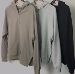 Wholesale Hoody Zip Fashion Men - Oversize Side Slits Fleece Hoody Men Loose Fit Half Zip Drop Shoulder Pullover Free Shipping 2018 dongguan_wholesale in stock