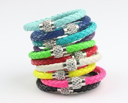 Wholesale Shambhala Set - MIC Shambhala Weave Leather Czech Crystal Rhinestone Cuff Clay Magnetic Clasp Bracelets Bangle 3size length 19cm 21cm 23cm