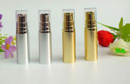 Wholesale Transparent Silver Pumps - vacuum bottle 5ML silver airless bottle or lotion bottle with silver airless pump and transparent lid