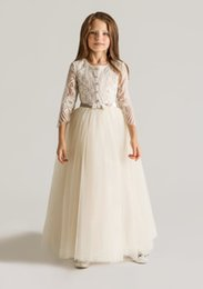 Wholesale Cheap Bow Shirts - 2015 Cheap Long Flower Girls Dresses Ankle Length A Line 3 4 Long Sleeve Tulle Lace Applique White Plus Size Little Girl dresses