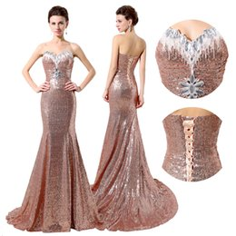 Wholesale Sweetheart Strapless Sparkling Wedding Dress - 2016 Sparkle Sequins Bridesmaid Dresses with Crystals Mermaid Sexy Open Back Sweetheart Neckline Trumpet Long Prom Gowns Wedding Party SD319