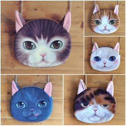 Wholesale Cute Phone Wallets - Lady Cartoon 3D cat messenger bags women 5styles kawaii cat single-shoulder bag Creative shoulder cute wallet 20*16cm hot