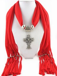 Wholesale Wholesale Cross Pendant Scarves - Pendant scarfs Cross antique beads charm tassel jewelry necklace scarves scarves shawls trendy polyester lady scarf factory price!!!