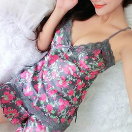 Wholesale Sexy Lingerie Trouser - Wholesale- Sexy Pajamas Women Silk Lace Floral Braded Robe Sleepwear Lingerie Nightdress Babydoll Pajamas Set V-Neck + Pyjama Trousers
