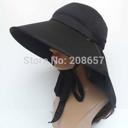 Wholesale Wide Ride - Wholesale-New Fashion Woman Outdoor Neck Face Sun Protection Windproof Hat Beach Riding Cap