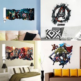 Wholesale America Wallpapers - The Avengers 3D Wall Stickers Posters Decals Cartoon Ironman Hulk Poster Wallpaper Home Decoration Captain America Posters