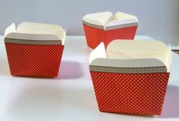 Wholesale Square Paper Baking Liners - 100X Red Polka Dot Square Wedding Cupcake Paper Baking Cups Cupcake Boxes Liners Bulk Wrappers Wrapping Paper Assorted
