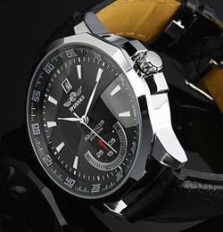 Wholesale Winner Steel Watches - 2017 New!Brand Winner Leather Automatic Mechanical Skeleton Chronograph Watch Men Watch Best Gift Top Quality