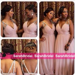 Wholesale Cheap African Beads - 2016 Summer Long Bridesmaid Dresses for Wedding Plus Size South African Maid of Honor Sale Cheap Sexy Beaded Spaghetti Hot Bridal Party Gown