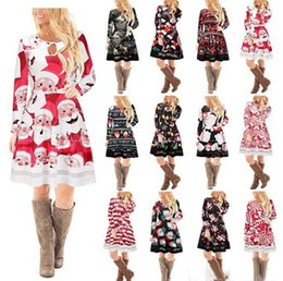 Wholesale Long Skirts Styles For Women - 12 style Christmas Long Sleeves Woman Girls Dress Deer Snowman Flower Printed Skirt Elegant for Party Dresses