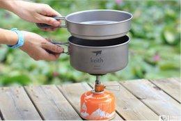 Wholesale Titanium Camping Pots Pans - Wholesale-KP6016 Titanium 950ml big pot +600ml medium pot  pan for camping traving hunting