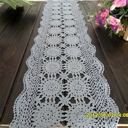 Wholesale Crochet Runners - 2014 zakka fashion design cotton crochet lace table runner for coffee table home deocr cutout tablecloth mat blue with tiny def