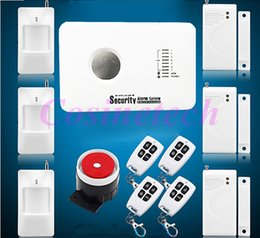 Wholesale Wireless Remote Control Firing System - New Wireless wired GSM Voice Home Security Burglar Android IOS Alarm System Auto Dialing Dialer SMS Call Remote control setting
