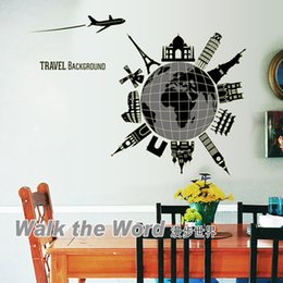 Wholesale World Travel Stickers - Travel around the world Glue in the Dark Wall Art Decal Sticker Luminous Travel Around the World Wall Stickers Decor