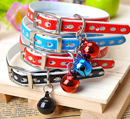 Wholesale Necklace Training For Dogs - Small Cute PU Pet Training Collar Charming Safety Dog Cat Collar Necklace With Bell For Small Pets Mix Color Mix Order 20PCS LOT
