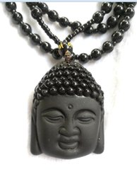Wholesale Jade Buddha Pendants For Men - Natural Obsidian Necklace Fashion Black Ruyi Buddha Pendant For Women Men Vintage Fine Jade Jewelry Ornaments A1