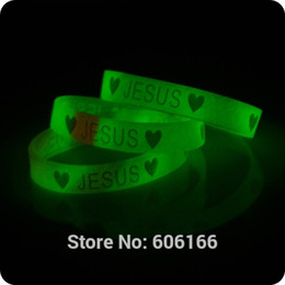 Wholesale catholic religious jewelry wholesale - Wholesale-50x Heart JESUS glow in dark silicone Bracelet wristband Fashion Catholic Christian Religious Jewelry