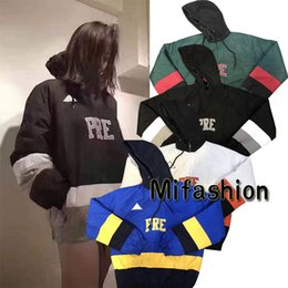 Wholesale American Jacket Woman - Winter American Fashion Box Logo Warm Puffy Hockey Pullover Men Zipper Patchwork Jacket Casual Women cotton Hooded Retro Ice Coat