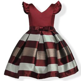 Wholesale Childrens Party Novelties - childrens Gold Striped princess dresses kids party clothes baby girls embroidery dress toddler wedding dress for 100-150cm