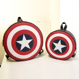Wholesale Rucksack Leather - Newest Design Women Men Fashion Backpack Round PU Leather girls Travelling Bag Captain America Rucksack Bag for lady