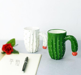 Wholesale Coffee Milk Container - New 3D Cactus Style Mugs Water Container Cups Craetive Tea Milk Coffee Mug With Special Handle Porcelain Ceramic Drinkware