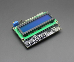 Wholesale Arduino Tft Lcd Shield - Wholesale-Free Shipping LCD Keypad Shield LCD1602 LCD 1602 Module Display for arduino ATMEGA328 ATMEGA2560 raspberry pi UNO blue screen