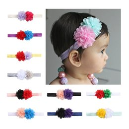 Wholesale Chiffon B - Soft Elastic Hair Band With Two Hit Color Chiffon Flowers Headwrap For Girl Baby Headband Hot Sale 1 05ml B