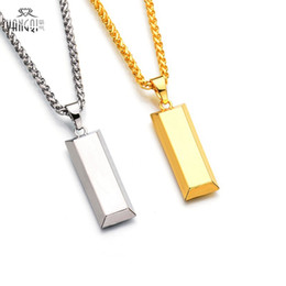 charm initials necklace chains Coupons - Hiphop BRAND Gold Cube Bar Necklace&Pendant Hip Hop Jewelry Dance Charm Franco Men Chain Necklace