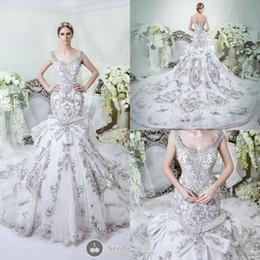 Wholesale Cathedral Train Taffeta Wedding Dress - Glamour and Luxury 2015 Dar Sara Backless Wedding Dresses Beaded Tulle Bridal Gown with Scoop Neckline and Cathedral Train and Crystals Tier