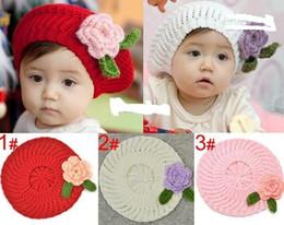 Chapéu de boina bebê tricô on-line-Crianças tampas, meninas boina artesanal cap flor chapéu de malha / bebê chapéu De Malha 3 cores, 10 pçs / lote
