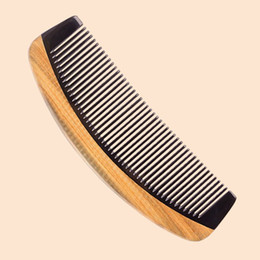 Wholesale Beauty Teeth - Horn Wood Comb Hair Care Styling Tool Beauty Handmade Fine Tooth Hair Comb Anti Static Fragrant Sandalwood Wood Buffalo Horn Wholesale Gift