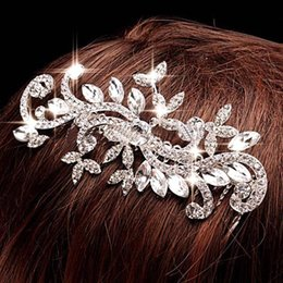 Wholesale Head Clip Flowers - 2017 Hair Clips Barrettes Bridal Tiaras Free Shipping Shiny Crystal Pearl Women Hair Jewelry Wedding Accessories Lady Bridal Head Jewelry