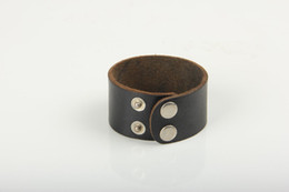 Wholesale Leather Cuff Plain Bracelets - Wholesale-Plain Leather Snap Button Bracelet Wide Leather Cuff Blank Leather Bangle To Put Logo By Youself Leather Jewelry