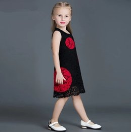 Wholesale noble style - Girls Clothes Children Princess Dress Girls Sleeve Less Noble Lace Dress Red & Black Princess Children Clothing
