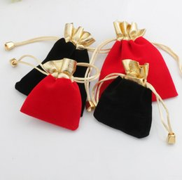 Wholesale Wholesale Black Velvet - Velvet Beaded Drawstring Pouches 100pcs lot 2Colors 2sizes Jewelry Packaging Christmas Wedding Gift Bags Black Red
